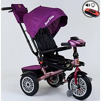Детский велосипед трехколесный с ручкой и фарой Best Trike поворотное сиденье 1-3 года Фиолетовый 13774
