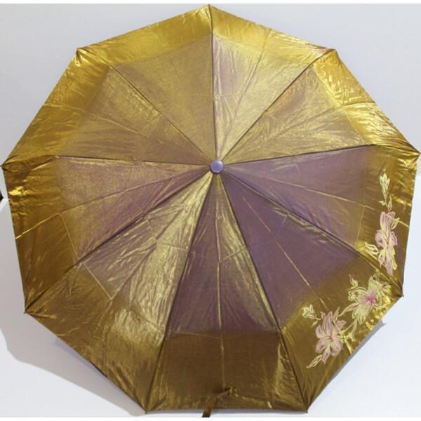 Зонт Хамелеон женский полуавтомат Popular складной с цветами красивый Золото 604/3