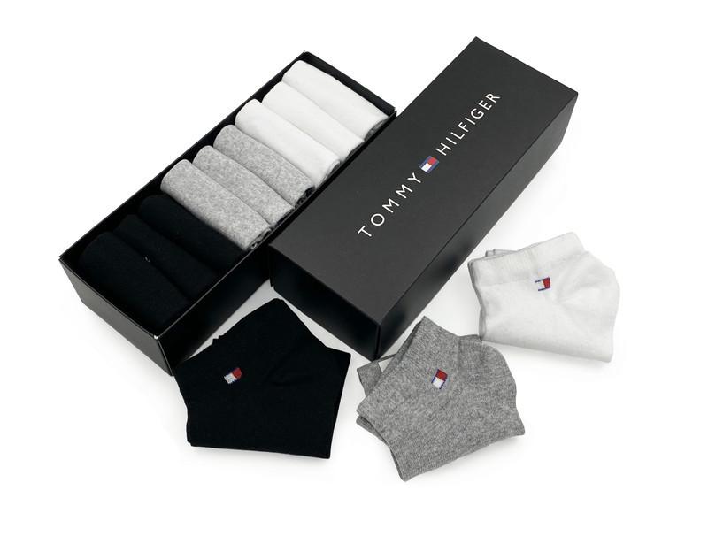 Комплект коротких носков в коробке (9 пар: белые + серые + черные)