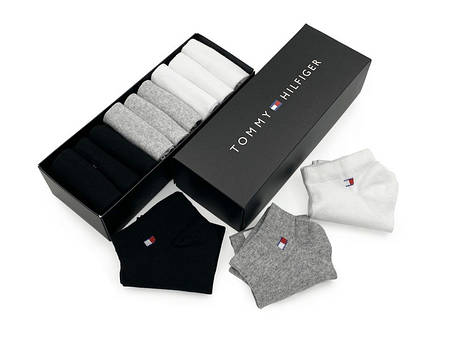 Комплект коротких носков в коробке (9 пар: белые + серые + черные), фото 2
