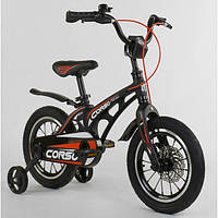 Велосипед детский двухколесный Corso Magnesium 14 дюймов 3-4 года с магниевой рамой Черный (16828)