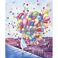 Картина по номерам Девушка с воздушными шарами на крыше Danko Toys Раскраска 40х50 см Набор для рисования