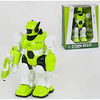 Робот игрушка детская интерактивный Storm Brave ходит со светом и звуком Салатовый (34415)