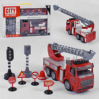 Пожарная машина игрушка инерционная Jialegu Toys Спецтехника спасательная со светом и звуком Красная (34451)