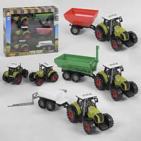 Набор тракторов с прицепами игровой инерционный Zhengguang 3 спецтехники со светом и звуком Зеленый