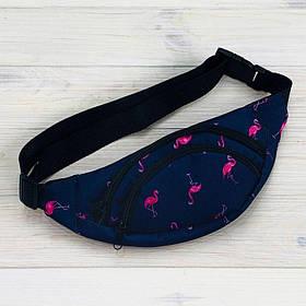Бананка из текстиля темно-синего цвета с фламинго