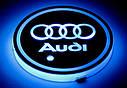 Подсветка подстаканника в авто RGB с логотипом автомобиля AUDI/ Ауди  комплект 2 штуки, фото 5