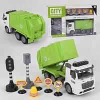 Мусоровоз детский машинка игрушка Спецтехника со светом и звуком Зеленый City Service (35932)