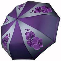 Зонт женский автомат Flagman складной 10 спиц антиветер цветы Орхидеи качественный красивый Фиолетовый 105
