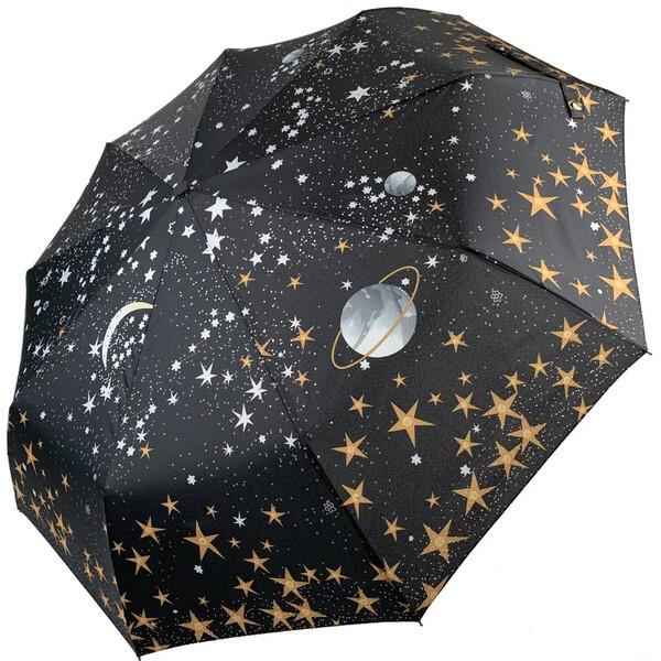 Парасолька жіночий повний автомат складаний B. Cavalli Зоряне небо 9 спиць в подарунковій коробці Чорний 4501
