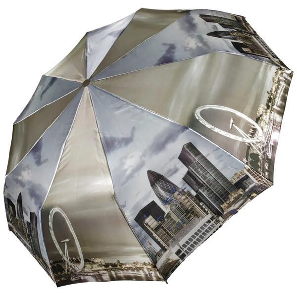 Зонт женский полный автомат складной Zicco 10 карбоновых спиц атласный Лондон Серый 5024
