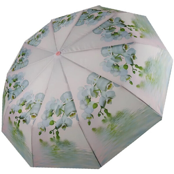 Зонт жіночий напівавтомат складаний Flagman fpa7333 з квітами Орхідеї 10 спиць Білий