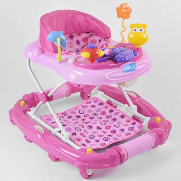Ходунки детские для девочки 6-18 месяцев JOY с музыкальной панелью Розовые