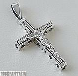 Серебряный мужской крестик с распятием байкерский кулон подвеска, фото 2