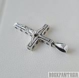 Серебряный мужской крестик с распятием байкерский кулон подвеска, фото 4