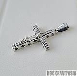 Серебряный мужской крестик с распятием байкерский кулон подвеска, фото 3