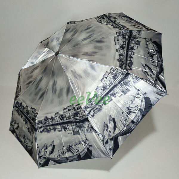 Зонт складаний жіночий Calm Rain 483-3 напівавтомат на 9 спиць Сірий
