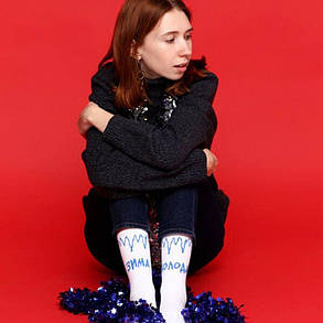 """Білі шкарпетки унісекс з написом """"Зима Холоду"""", фото 2"""