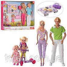 Набор кукольный Семья DEFA 8301 29 см, дочки 13 см и 10см, пикник