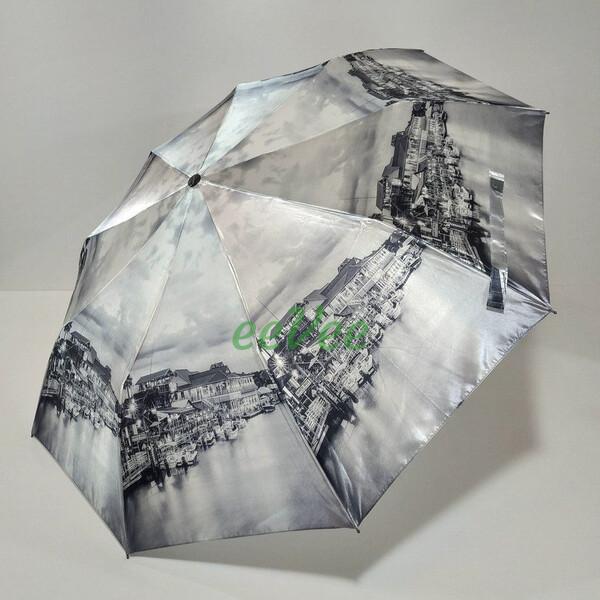 Зонт складаний жіночий Calm Rain 483-11 напівавтомат на 9 спиць Сірий