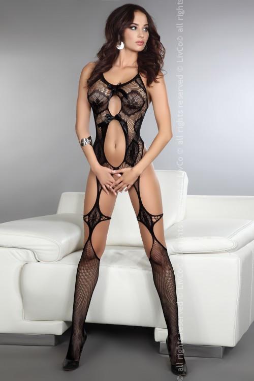 Сексуальный боди-комбинезон сетка женский чёрный S/L