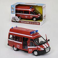 Пожарный микроавтобус машинка детская Play Smart с открывающимися дверями со светом и звуком сирены Красная