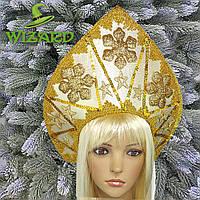 Кокошник корона Новогодняя королева золото 10376, фото 1
