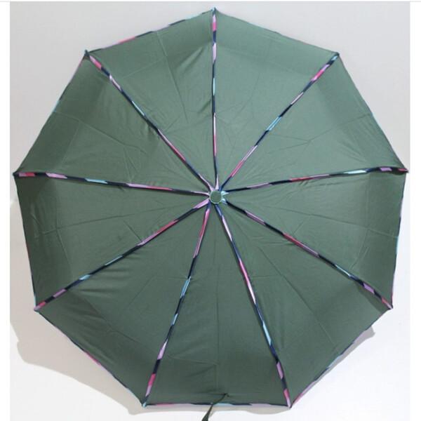 Зонтик женский автомат складной 9 спиц антиветер Banders Зеленый однотонный прочный купол 2074