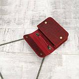Сумка piton lady красная из натуральной кожи с оттиском, фото 3