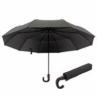 Большой зонт мужской семейный полуавтомат Bellissimo 10 спиц президентский купол 118 см складной Черный N305