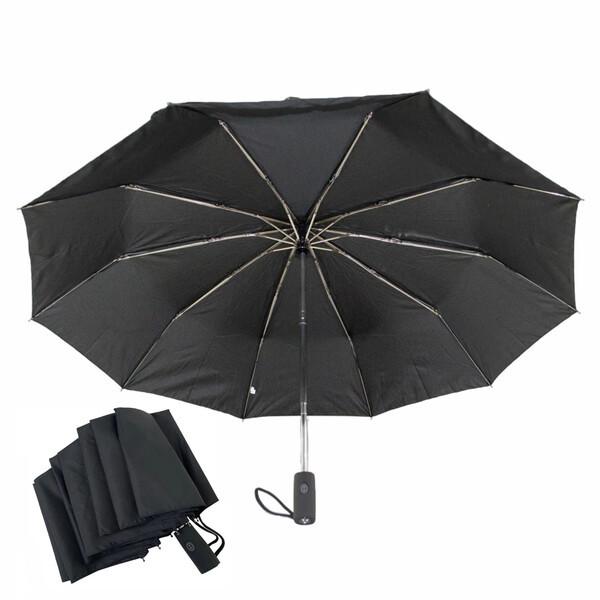 Чоловічий парасольку 10 спиць антиветер складаний автомат міцний якісний Чорний Срібний Дощ SD1