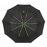 Чоловічий парасольку 10 спиць антиветер складаний автомат міцний якісний Чорний Срібний Дощ SD1, фото 3