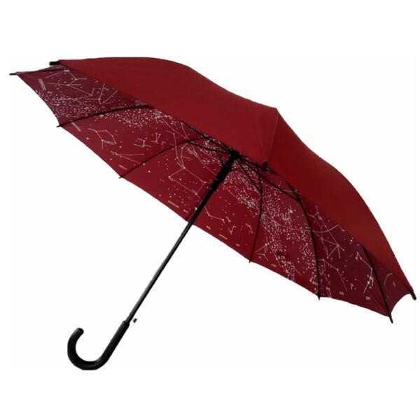 Зонт трость женский Flagman Звездное Небо полуавтомат 10 карбоновых спиц купол 112 см Бордовый