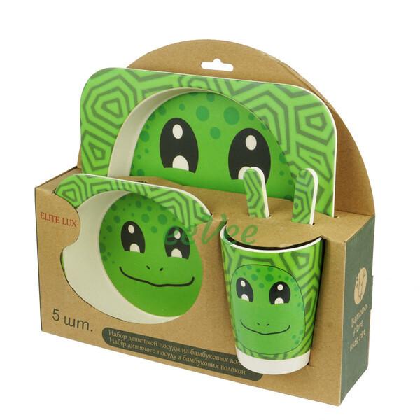 Набір дитячої еко-посуду з бамбука Elite Lux H0053 5в1 Жаба