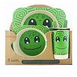 Набір дитячої еко-посуду з бамбука Elite Lux H0053 5в1 Жаба, фото 2