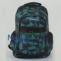 Рюкзак молодежный школьный City No714 46х35х14 см Черный с бирюзовым