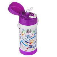 Термос с трубочкой для девочки А-Плюс 320 мл на ремешке Бело-фиолетовый (7047)