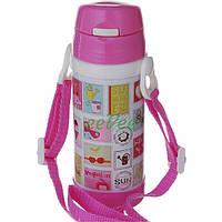 Термос с трубочкой для девочки А-Плюс 320 мл на ремешке Бело-розовый (7049)