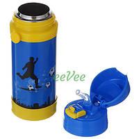 Термос с трубочкой для мальчика А-Плюс Футбол 320 мл на ремешке Голубой-желтый (7052)