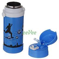 Термос с трубочкой для мальчика А-Плюс Футбол 320 мл на ремешке Голубой (7054)