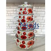 Набор эмалированных кастрюль Edenberg Маки из 10 предметов Бело-красный