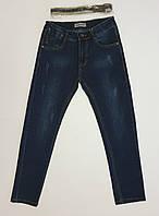 Подростковые темные зауженные джинсы с потертостями для мальчика, р.140