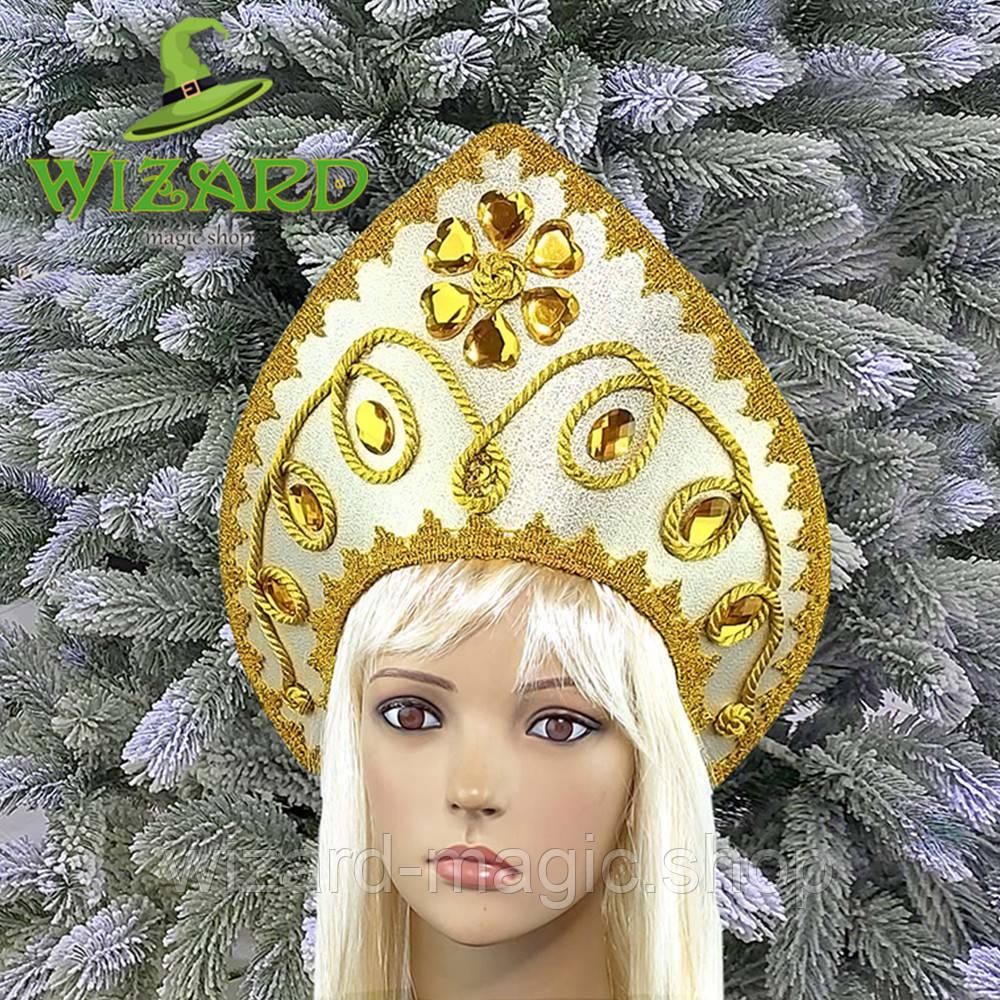 Кокошник корона Снегурочки Анастейшен золото 10374