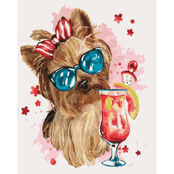 Картина по номерам Идейка Cool party 50х40 см Набор для рисования Животные Собачка
