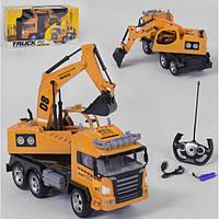 Экскаватор на пульте правления игрушечный детский Syrcar Спецтехника строительная Оранжевый (29434)