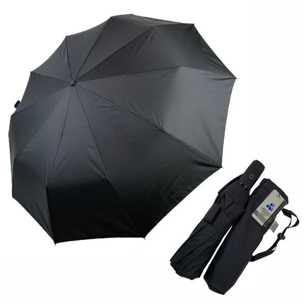 Зонт чоловічий автоматичний 10 спиць антиветер складаний надійний якісний купол 104 см Чорний Silver Rain