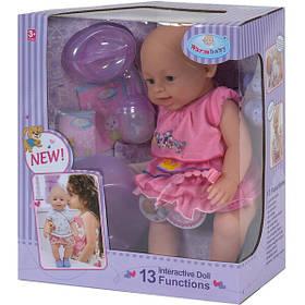 Пупс 42 см Warm Baby 13 функций интерактивный со звуками на батарейках кукла с аксессуарами для девочки (523)