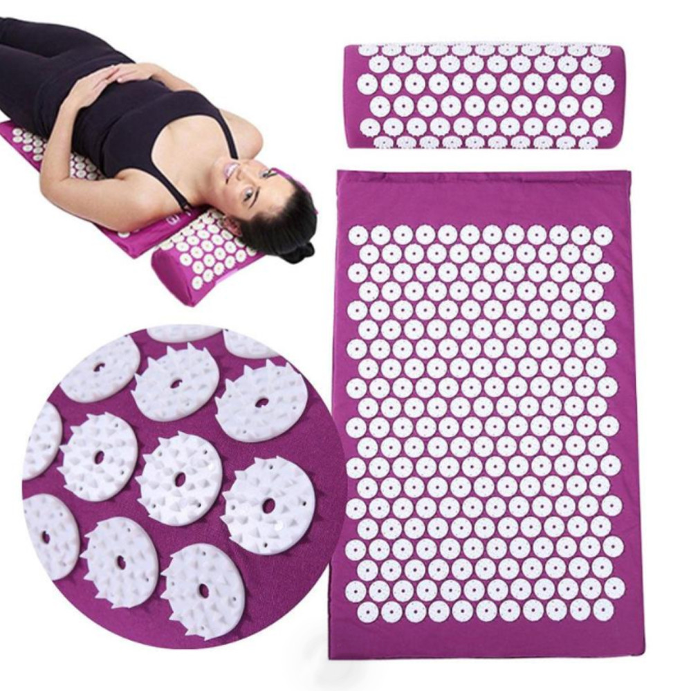 Акупунктурний мат матрац з подушкою Аплікатор Кузнєцова килимок для йоги иглоукалывающий масажер