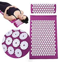 Акупунктурный коврик с валиком массажный Аппликатор Кузнецова мат для йоги иглоукалывающий массажер