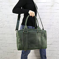 Дорожная сумка Mihey cube short зеленая из натуральной кожи crazy horse 1470907